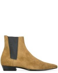 Мужские светло-коричневые кожаные ботинки челси от Saint Laurent