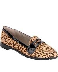 Светло-коричневые кожаные лоферы с леопардовым принтом