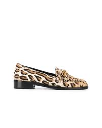 Женские светло-коричневые кожаные лоферы с леопардовым принтом от Versace