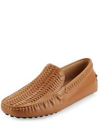 Светло-коричневые кожаные мокасины