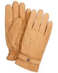 Светло-коричневые кожаные перчатки