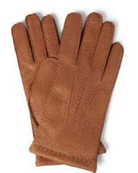 Мужские светло-коричневые кожаные перчатки