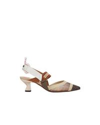 Светло-коричневые кожаные туфли в горизонтальную полоску от Fendi
