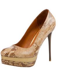 Светло-коричневые кожаные туфли со змеиным рисунком