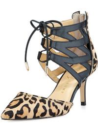 Светло-коричневые кожаные туфли с леопардовым принтом