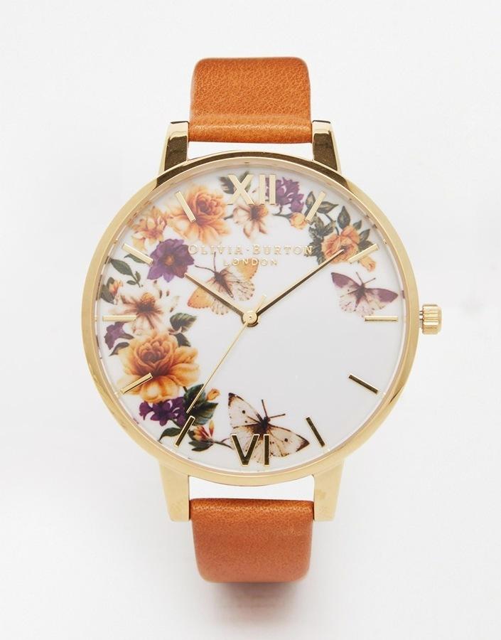 Женские светло-коричневые кожаные часы