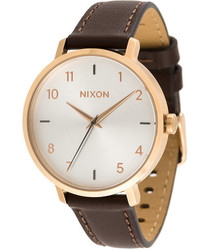 Женские светло-коричневые кожаные часы от Nixon