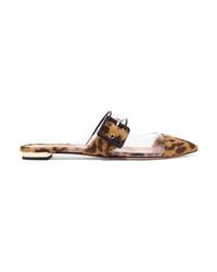 Светло-коричневые лоферы из ворса пони с леопардовым принтом
