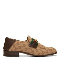 Мужские светло-коричневые лоферы из плотной ткани с принтом от Gucci
