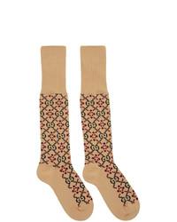 Светло-коричневые носки с принтом