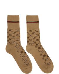 Мужские светло-коричневые носки с принтом от Gucci