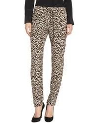 Светло-коричневые пижамные штаны с леопардовым принтом