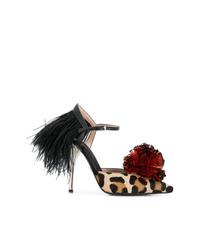Светло-коричневые туфли из ворса пони с леопардовым принтом от Giambattista Valli