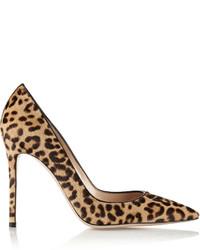 Светло-коричневые туфли из ворса пони с леопардовым принтом от Gianvito Rossi