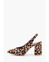 Светло-коричневые туфли из ворса пони с леопардовым принтом от LOST INK