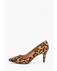 Светло-коричневые туфли из ворса пони с леопардовым принтом от Queen Vivi