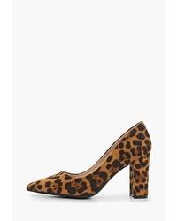 Светло-коричневые туфли из ворса пони с леопардовым принтом от Super Mode
