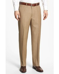 Светло-коричневые шерстяные классические брюки