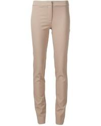 Светло-коричневые шерстяные узкие брюки