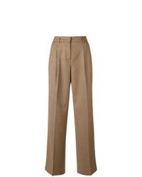 Светло-коричневые широкие брюки в клетку
