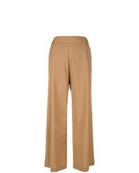 Светло-коричневые широкие брюки