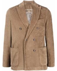 Мужской светло-коричневый вельветовый двубортный пиджак от Circolo 1901