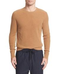 Светло-коричневый вязаный свитер с круглым вырезом