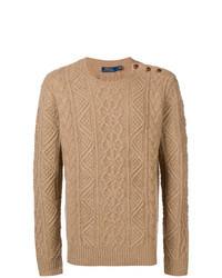 Светло-коричневый вязаный свитер