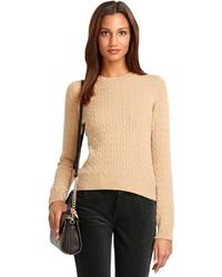 Женский светло-коричневый вязаный свитер от Brooks Brothers
