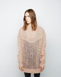 Светло-коричневый вязаный свободный свитер