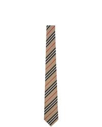 Мужской светло-коричневый галстук в горизонтальную полоску от Burberry
