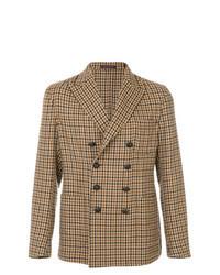 Светло-коричневый двубортный пиджак в клетку