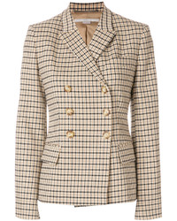 Женский светло-коричневый двубортный пиджак в клетку от Stella McCartney