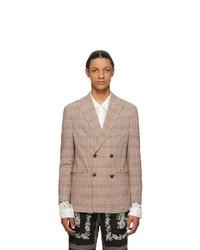 Светло-коричневый двубортный пиджак в шотландскую клетку