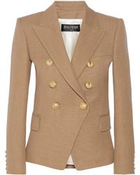 Светло-коричневый двубортный пиджак