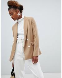 Женский светло-коричневый двубортный пиджак от Bershka