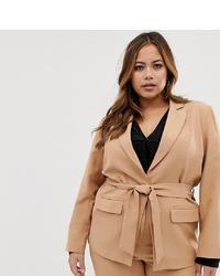 Женский светло-коричневый двубортный пиджак от Fashion Union Plus