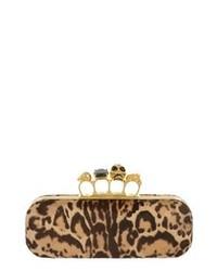 Светло-коричневый замшевый клатч с леопардовым принтом
