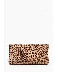 Светло-коричневый замшевый клатч с леопардовым принтом от Dorothy Perkins
