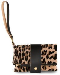 Светло-коричневый замшевый клатч с леопардовым принтом от Marni