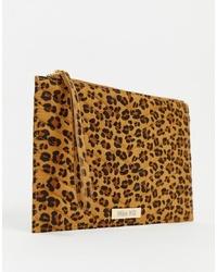 Светло-коричневый замшевый клатч с леопардовым принтом от Miss KG