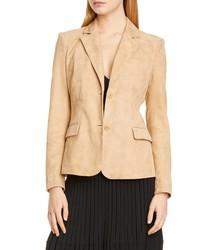 Светло-коричневый замшевый пиджак