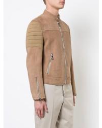 Мужской светло-коричневый кожаный бомбер от Neil Barrett