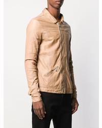 Мужской светло-коричневый кожаный бомбер от Giorgio Brato