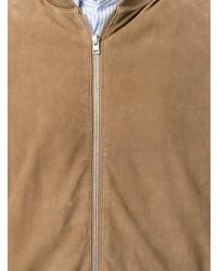 Мужской светло-коричневый кожаный бомбер от Boglioli