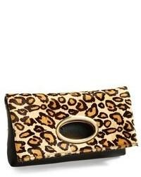 Светло-коричневый кожаный клатч с леопардовым принтом