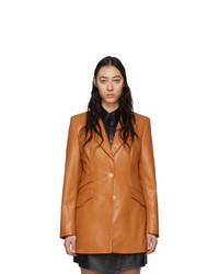 Женский светло-коричневый кожаный пиджак от Nanushka