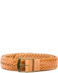 Мужской светло-коричневый кожаный плетеный ремень от A.P.C.