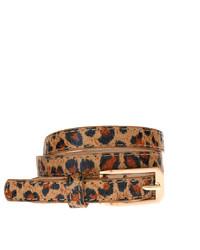 Женский светло-коричневый кожаный ремень с леопардовым принтом от Asos