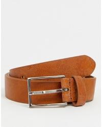 Мужской светло-коричневый кожаный ремень от ASOS DESIGN